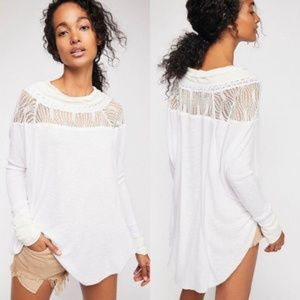 NWT Free People Spring Valley Lace Yoke Top Ivory